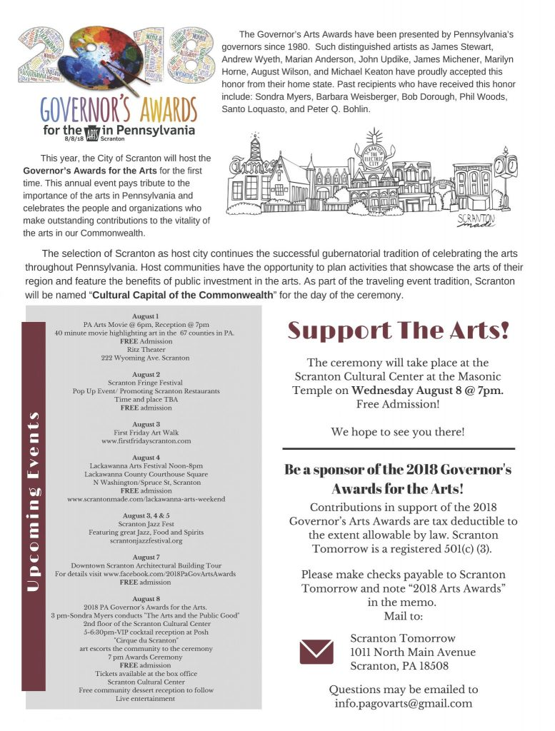 2018 Governor's Awards for the Arts in Pennsylvania