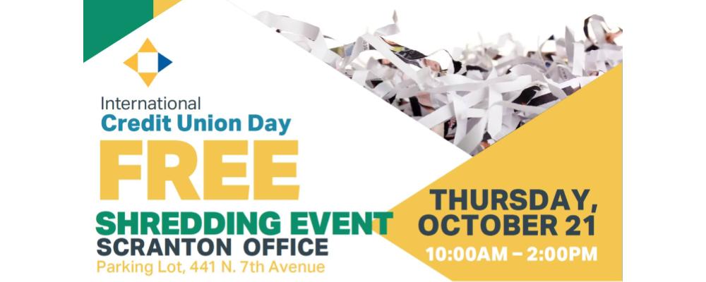 Penn East FCU Shredding Day: October 21
